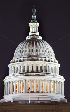 US Capitol Dome Close Up Night Washington DC stock photo, US Capitol Dome Close Up Congress House Washington DC by William Perry