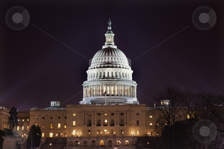 US Capitol Dome Houses of Congress Night Washington DC stock photo, US Capitol Congress House Senate capital city Washington DC Statue of US Grant in Front by William Perry