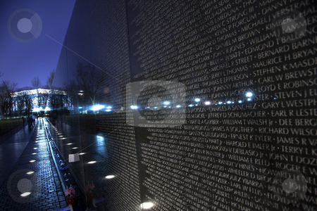 Lincoln Monument Reflection Vietnam Memorial Black Wall, Night W stock photo, Lincoln Memorial Reflection Vietnam Memorial Night The Wall Washington DC by William Perry