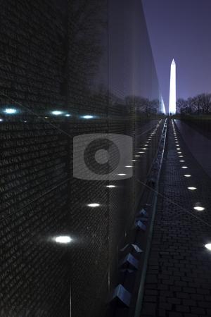Washington Monument Vietnam Memorial Black Wall, Night Washingto stock photo, Washington Monument Vietnam Memorial Night The Wall Washington DC by William Perry