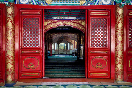 Interior Cow Street Niu Jie Mosque Beijing China stock photo, Interior Cow Street Niu Jie Mosque Beijing China  For the Hui Minority  Famous Moslem MosqueResubmit--In response to comments from reviewer have further processed image to reduce noise, sharpen focus and adjust lighting.No property release required.  This is a public mosque. by William Perry