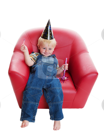 All Partied Out stock photo, A happy boy after a big birthday party.  Shot on white background. by Brenda Carson