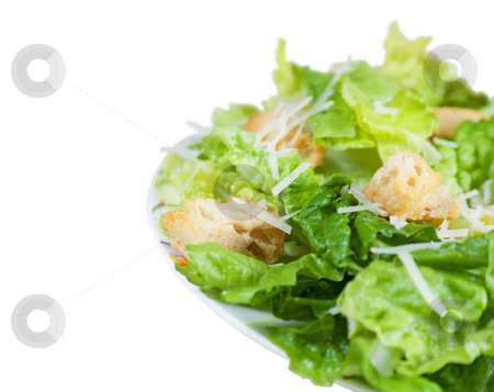 Side of Caesar Salad with Clipping Path stock photo, A simple Caesar salad with shallow depth of field.  Clipping path. by Brenda Carson