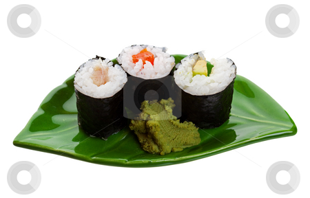 Sushi on a Leaf stock photo, Three kinds of sushi on a leaf shaped plate.  Shot on white background. by Brenda Carson