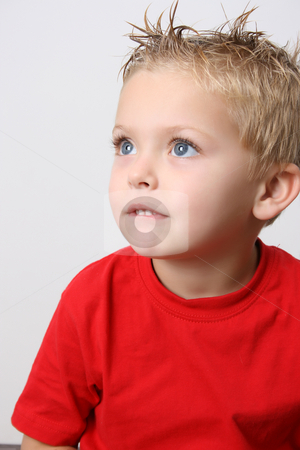 Beautiful Boy stock photo, Beautiful blond toddler on a white background by Vanessa Van Rensburg