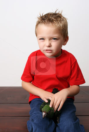 Beautiful Boy stock photo, Beautiful blond toddler holding his parrot on his lap by Vanessa Van Rensburg