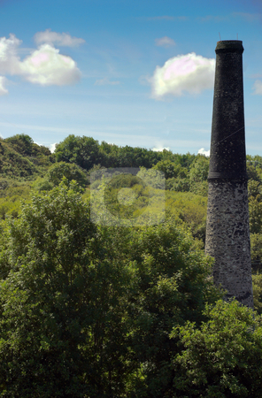 Stone Chimney Stack stock photo, Chimney Stack of an Old Tin Mine in Cornwall UK by Robert Ford