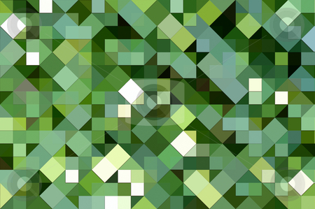Green square mosaic  stock photo, Texture of 3d square and triangle shapes in various greens by Wino Evertz
