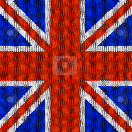 English flag in knitting pattern stock photo, Seamless texture of brittish national flag in knitted texture by Wino Evertz