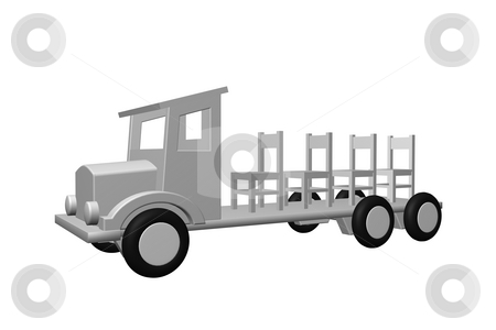 Shipping company stock photo, Old truck transports chairs - 3d illustration by J?