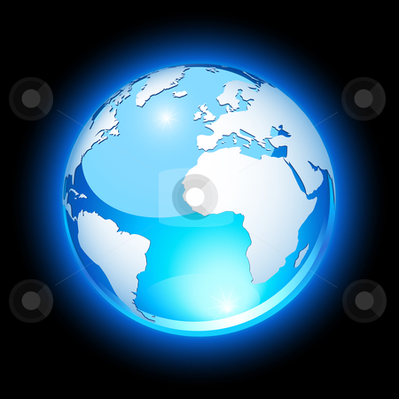 Crystal earth stock vector clipart, Blue crystal earth, showing Europe and Africa by Laurent Renault