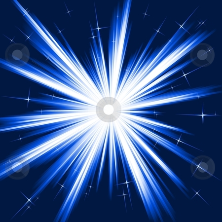 Blue light, star burst, stylised fireworks stock vector clipart, Light, star burst; stylised fireworks from   white to dark blue with little stars. Burst controlled   by one linear gradient. Use of 8 global colors. by Ina Wendrock