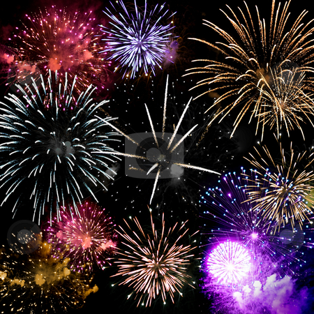 Fireworks Grand Finale stock photo, Beautiful fireworks exploding over a dark night sky in a grand finale display.  Very high resolution. by Todd Arena