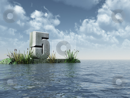 Number five stock photo, The number five at the ocean - 3d illustration by J?
