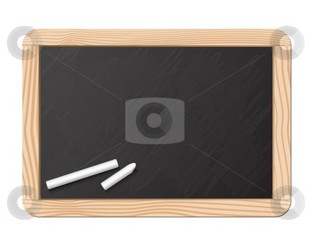 Blackboard and chalk stock vector clipart, Blackboard and chalk, realistic vector illustration by Laurent Renault