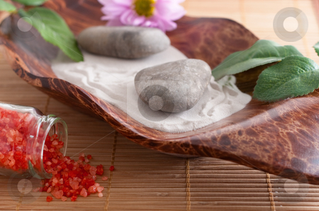 Bath salt, massage stones, bowl and sand, flower stock photo, Massage stones on sand in a bowl, a purple flower and red bath salt by Alexander Zschach