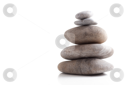 Massage Stones stock photo, Massage Stones isolated on white background with reflection by Alexander Zschach