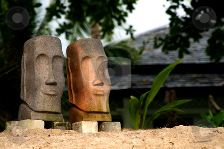 Statues on the beaach stock photo, Two statues on the beach by Alexander Zschach