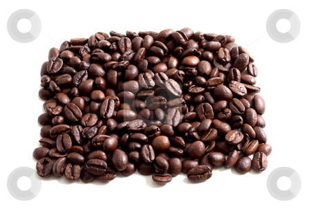 Coffee Beans stock photo, A bunch of coffee beans isolated on white background by Alexander Zschach