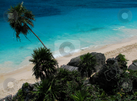 Vacation at the beach stock photo, A beach scene with blue heaven, clouds and turquoise water by Alexander Zschach