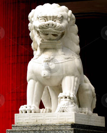 Tiger States stock photo, A stone lion sculpture taken in Singapore by Alexander Zschach