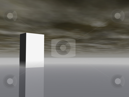 Packing presentation stock photo, White box in front of dark cloudy sky - 3d illustration by J?