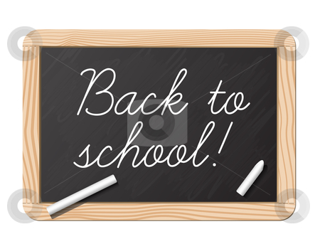 Back to school stock vector clipart, Blackboard and chalk for back to school by Laurent Renault