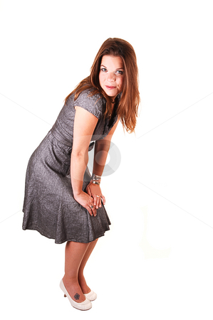 Pretty girl in gray dress. stock photo, Young lovely girl in a gray dress hands on her knees and looking in the  camera, standing in the studio for white background. by Horst Petzold