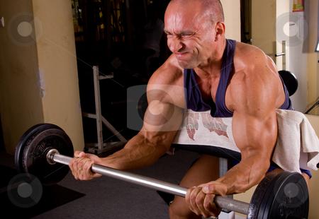 Bodybuilder training stock photo, Bodybuilder training his bicep by Istv??n Cs??k