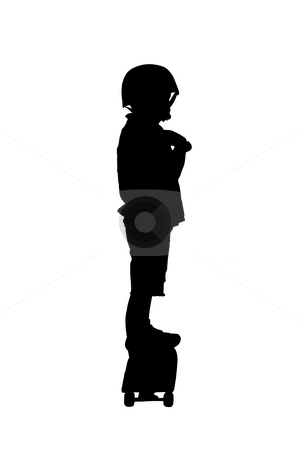 Boy on a skateboard stock photo, Black silhouette of a boy on a board by Fabio Alcini