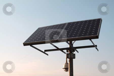 Solar panel stock photo, Closeup of a solar panel, blue sky by Fabio Alcini