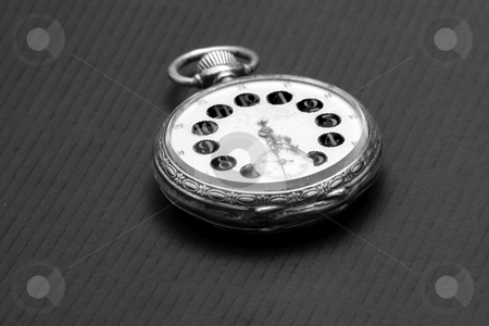 Old clock stock photo, Old clock flat on plain, black and white by Fabio Alcini