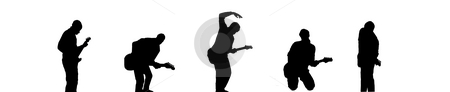 Band stock photo, Black silhouettes of five guitar players by Fabio Alcini