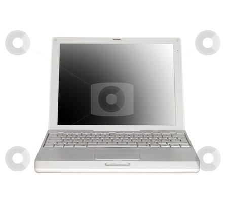 Laptop stock photo, Frontal view of a white laptop, on white background by Fabio Alcini