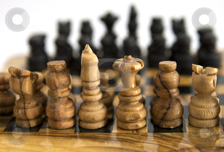 Chess stock photo, Two army of chess fronting each other by Fabio Alcini