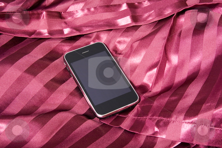 Phone stock photo, Last generation telephone on a white tissue background by Fabio Alcini