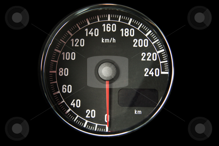 Speedometer stock photo, Closeup of a black speedometer of a car by Fabio Alcini