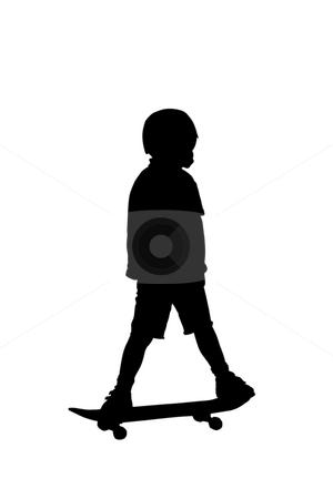 Boy on a skateboard stock photo, Black silhouette of a boy on a board by Fabio Alcini