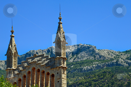 Church Saint Bartholomew stock photo, Skyline view of St Bartholomew church in Soller Majorca by Robert Ford