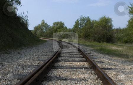 Railroad track stock photo, A way to the future with a railraod track by Chris Willemsen