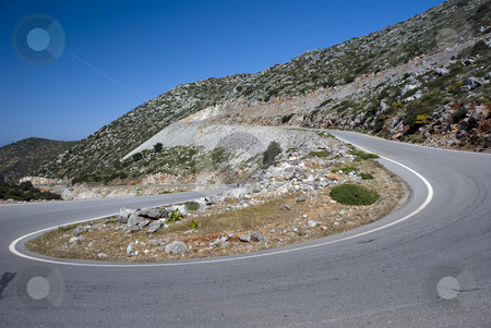 Rhodos stock photo, Road in the mountains on the greece island Rhodos by Chris Willemsen