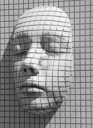 3d face stock photo, 3d face made in a wall by Chris Willemsen