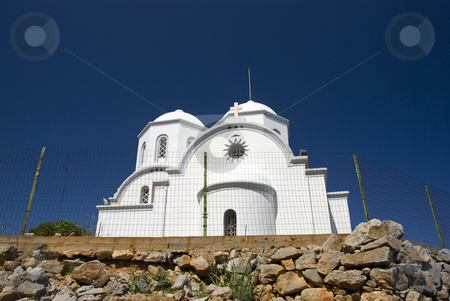 White church stock photo, Typical white church on the mountain at Chersonisos crete,greece by Chris Willemsen