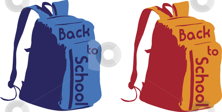 Back to School Backpack stock vector clipart, Back to school written on backpack in red and blue by gubh83