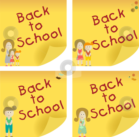 Back to School Sticky Note stock vector clipart, Back to School yellow sticker note. Add your message. by Augusto Cabral Graphiste Rennes