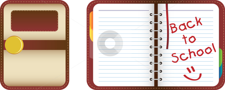 Organizer Back to School stock vector clipart, Leather organizer/notebook with colored tabs. Back to School by Augusto Cabral Graphiste Rennes