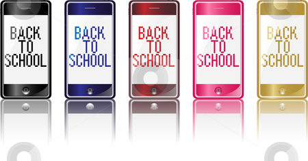 Phone Back to School stock vector clipart, Set of 5 different colors modern phones with back to school message by Augusto Cabral Graphiste Rennes