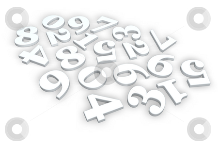 Numbers stock photo, Disorder of numbers on white background - 3d illustration by J?