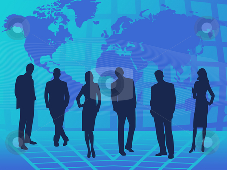 Teamwork stock photo, Teamwork on blue background with world map by Minka Ruskova-Stefanova