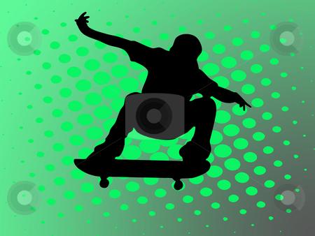 Skateboard stock photo, Skating man on green background by Minka Ruskova-Stefanova